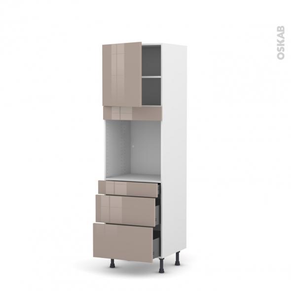 Colonne de cuisine N°1658 - Four encastrable niche 60 - KERIA Moka - 1 porte 3 tiroirs - L60 x H195 x P58 cm
