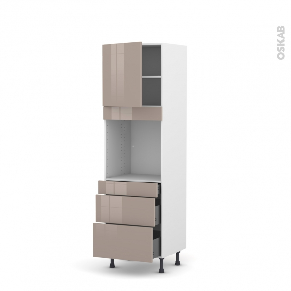 KERIA Moka - Colonne Four N°1658  - 1 porte 3 tiroirs - L60xH195xP58