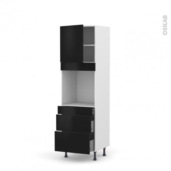 GINKO Noir - Colonne Four N°1658  - 1 porte 3 tiroirs - L60xH195xP58