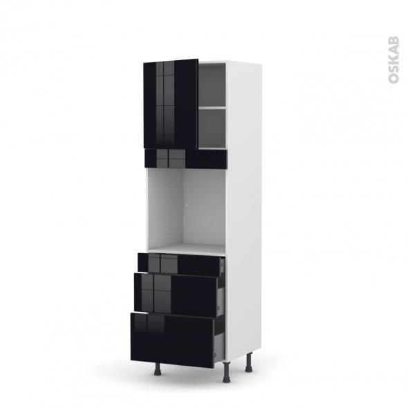 KERIA Noir - Colonne Four N°1658  - 1 porte 3 tiroirs - L60xH195xP58