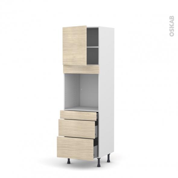 Colonne de cuisine N°1658 - Four encastrable niche 60 - STILO Noyer Blanchi - 1 porte 3 tiroirs - L60 x H195 x P58 cm