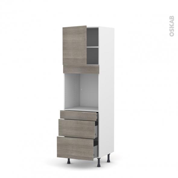 Colonne de cuisine N°1658 - Four encastrable niche 60 - STILO Noyer Naturel - 1 porte 3 tiroirs - L60 x H195 x P58 cm