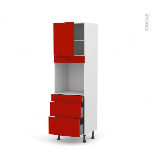GINKO Rouge - Colonne Four N°1658  - 1 porte 3 tiroirs - L60xH195xP58