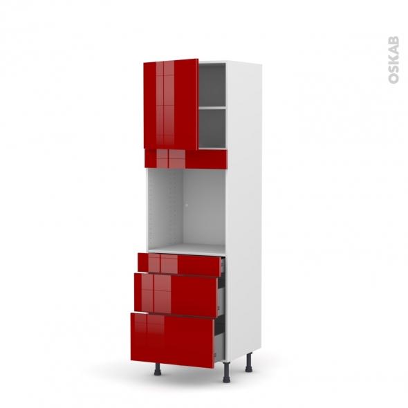 STECIA Rouge - Colonne Four N°1658  - 1 porte 3 tiroirs - L60xH195xP58