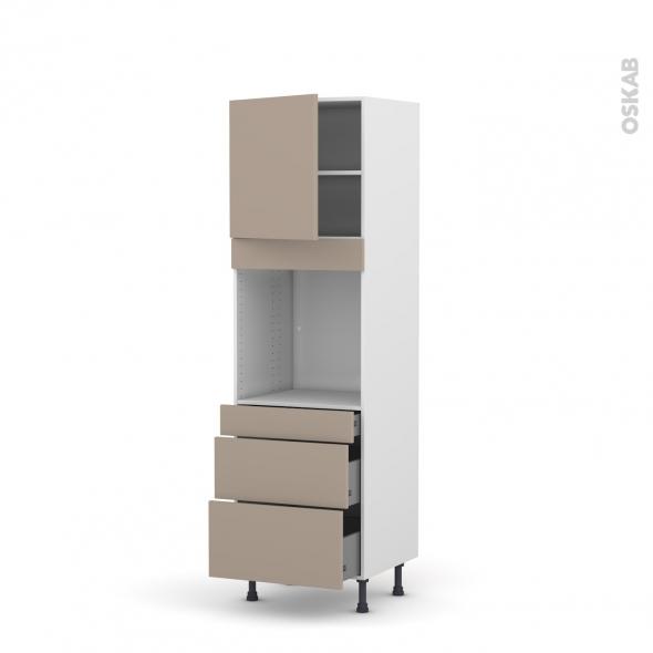 Colonne de cuisine N°1658 - Four encastrable niche 60 - GINKO Taupe - 1 porte 3 tiroirs - L60 x H195 x P58 cm