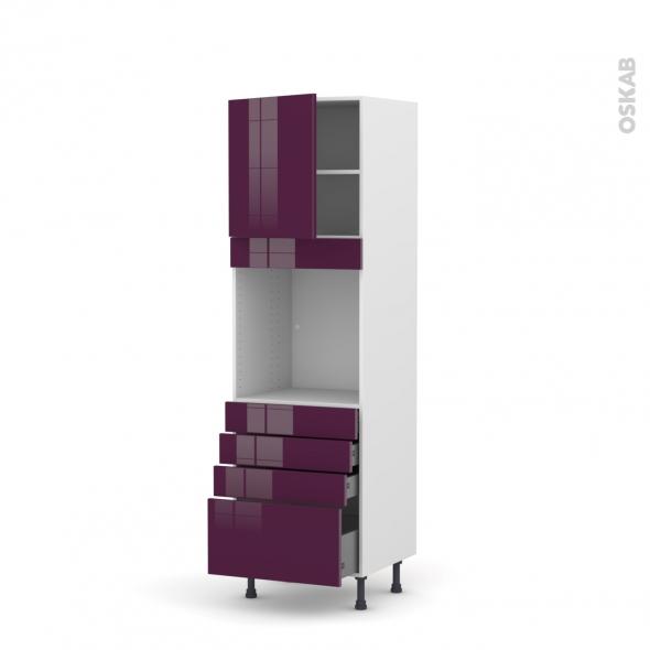 Colonne de cuisine N°1659 - Four encastrable niche 60 - KERIA Aubergine - 1 porte 4 tiroirs - L60 x H195 x P58 cm