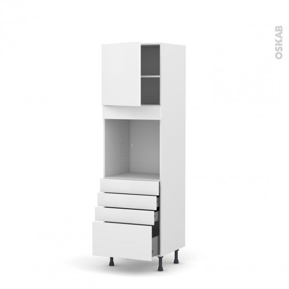 Colonne de cuisine N°1659 - Four encastrable niche 60 - GINKO Blanc - 1 porte 4 tiroirs - L60 x H195 x P58 cm