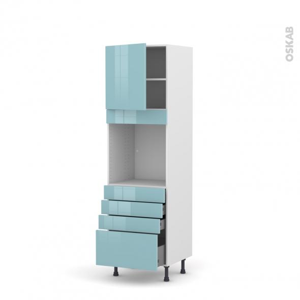 Colonne de cuisine N°1659 - Four encastrable niche 60 - KERIA Bleu - 1 porte 4 tiroirs - L60 x H195 x P58 cm