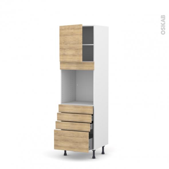 Colonne de cuisine N°1659 - Four encastrable niche 60 - HOSTA Chêne naturel - 1 porte 4 tiroirs - L60 x H195 x P58 cm