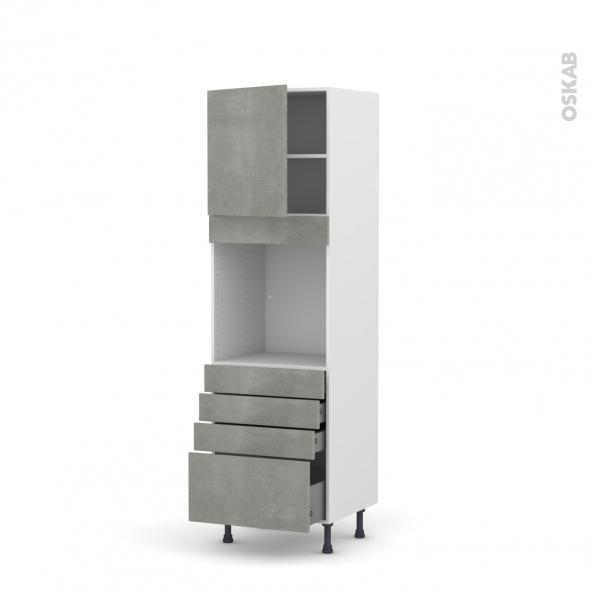 Colonne de cuisine N°1659 - Four encastrable niche 60 - FAKTO Béton - 1 porte 4 tiroirs - L60 x H195 x P58 cm