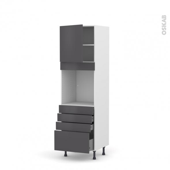 GINKO Gris - Colonne Four N°1659  - 1 porte 4 tiroirs - L60xH195xP58