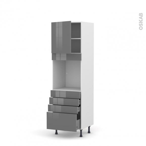 Colonne de cuisine N°1659 - Four encastrable niche 60 - STECIA Gris - 1 porte 4 tiroirs - L60 x H195 x P58 cm