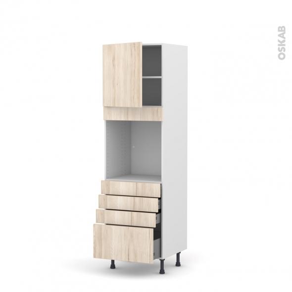 Colonne de cuisine N°1659 - Four encastrable niche 60 - IKORO Chêne clair - 1 porte 4 tiroirs - L60 x H195 x P58 cm