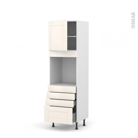 Colonne de cuisine N°1659 - Four encastrable niche 60 - FILIPEN Ivoire - 1 porte 4 tiroirs - L60 x H195 x P58 cm