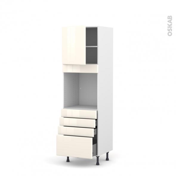 IRIS Ivoire - Colonne Four N°1659  - 1 porte 4 tiroirs - L60xH195xP58