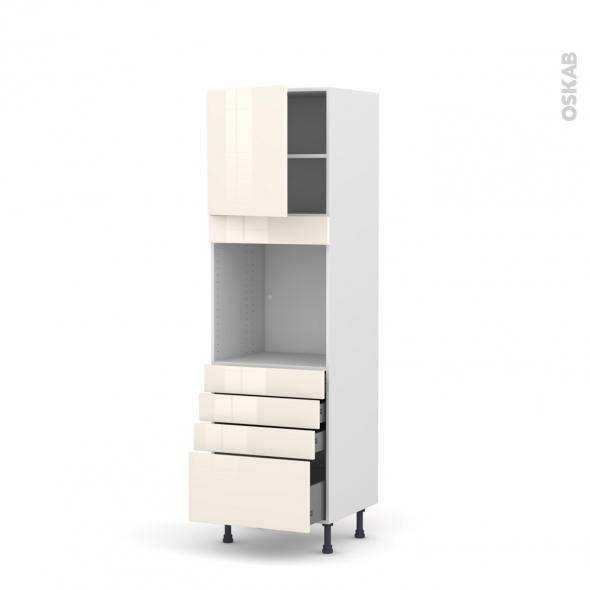 Colonne de cuisine N°1659 - Four encastrable niche 60 - KERIA Ivoire - 1 porte 4 tiroirs - L60 x H195 x P58 cm