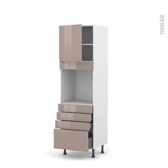 Colonne de cuisine N°1659 - Four encastrable niche 60 - KERIA Moka - 1 porte 4 tiroirs - L60 x H195 x P58 cm