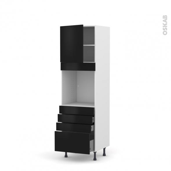 GINKO Noir - Colonne Four N°1659  - 1 porte 4 tiroirs - L60xH195xP58