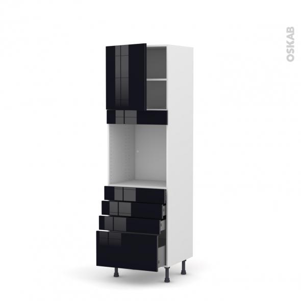 KERIA Noir - Colonne Four N°1659  - 1 porte 4 tiroirs - L60xH195xP58