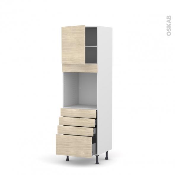 Colonne de cuisine N°1659 - Four encastrable niche 60 - STILO Noyer Blanchi - 1 porte 4 tiroirs - L60 x H195 x P58 cm