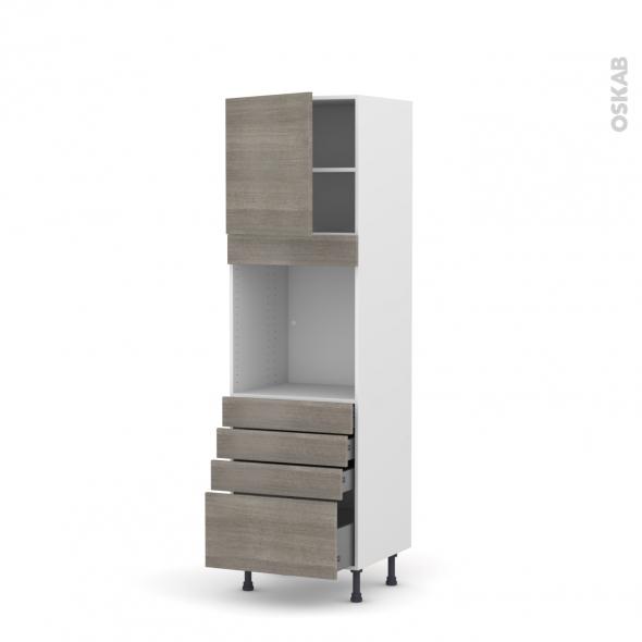 Colonne de cuisine N°1659 - Four encastrable niche 60 - STILO Noyer Naturel - 1 porte 4 tiroirs - L60 x H195 x P58 cm