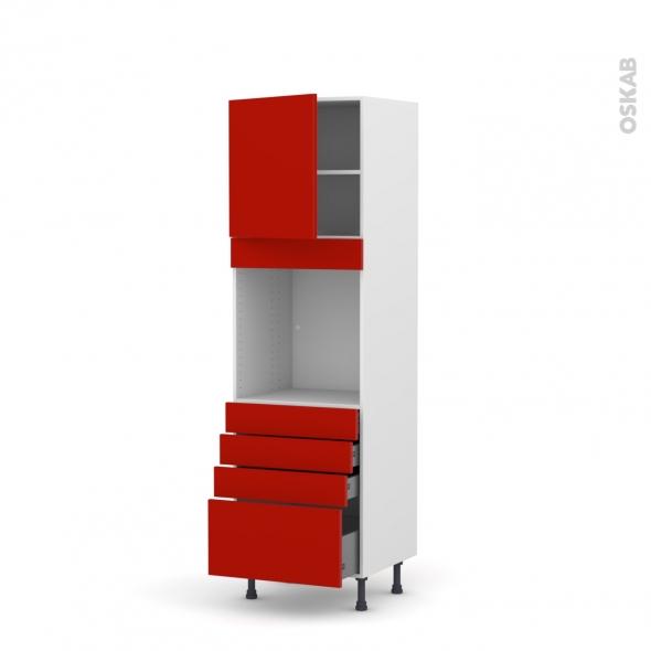 GINKO Rouge - Colonne Four N°1659  - 1 porte 4 tiroirs - L60xH195xP58