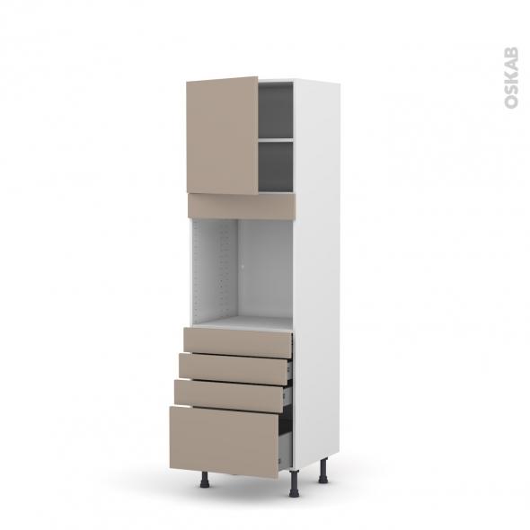 Colonne de cuisine N°1659 - Four encastrable niche 60 - GINKO Taupe - 1 porte 4 tiroirs - L60 x H195 x P58 cm