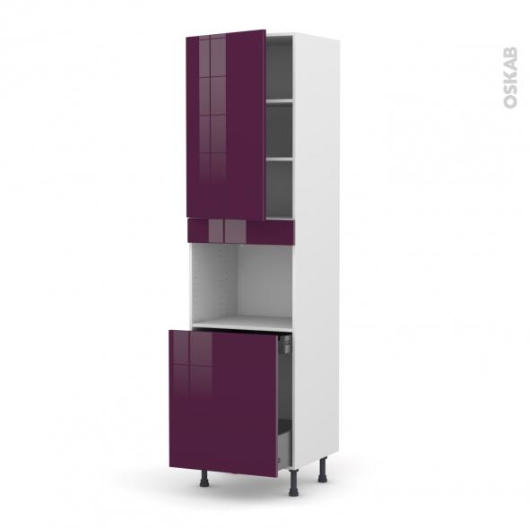 Colonne de cuisine N°2416 - Four encastrable niche 60 - KERIA Aubergine - 1 porte 1 porte coulissante - L60 x H217 x P58 cm