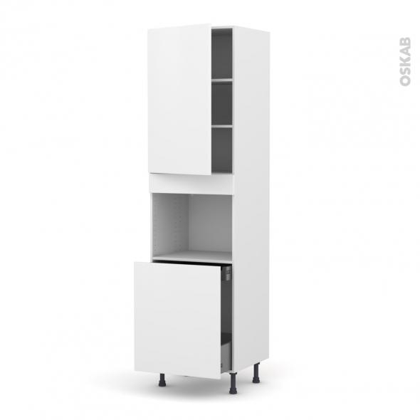 Colonne de cuisine N°2416 - Four encastrable niche 60 - GINKO Blanc - 1 porte 1 porte coulissante - L60 x H217 x P58 cm