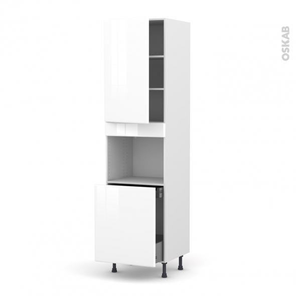 Colonne de cuisine N°2416 - Four encastrable niche 60 - IRIS Blanc - 1 porte 1 porte coulissante - L60 x H217 x P58 cm
