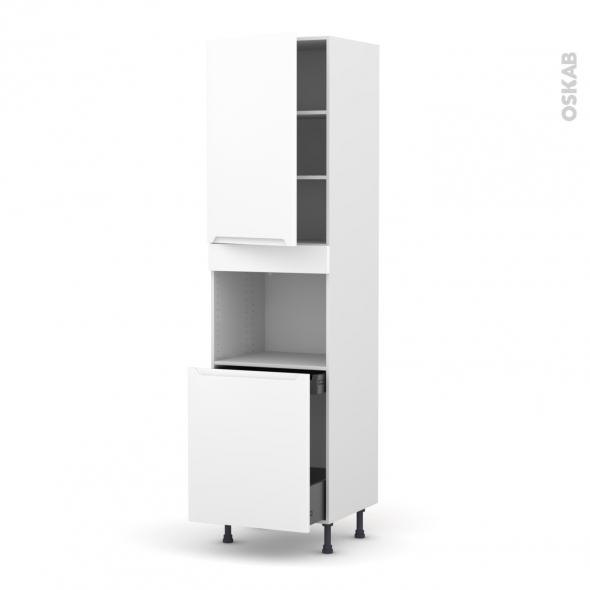 Colonne de cuisine N°2416 - Four encastrable niche 60 - PIMA Blanc - 1 porte 1 porte coulissante - L60 x H217 x P58 cm