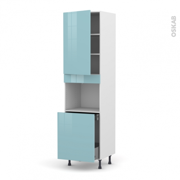 Colonne de cuisine N°2416 - Four encastrable niche 60 - KERIA Bleu - 1 porte 1 porte coulissante - L60 x H217 x P58 cm