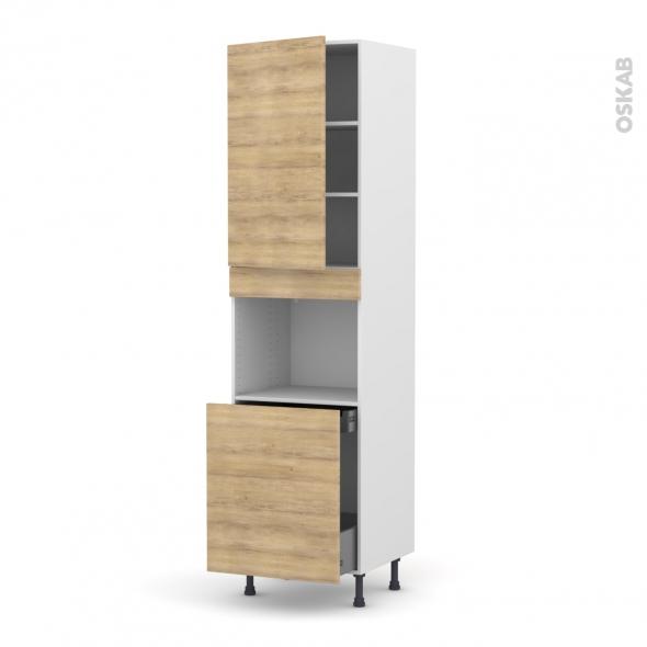 Colonne de cuisine N°2416 - Four encastrable niche 60 - HOSTA Chêne naturel - 1 porte 1 porte coulissante - L60 x H217 x P58 cm