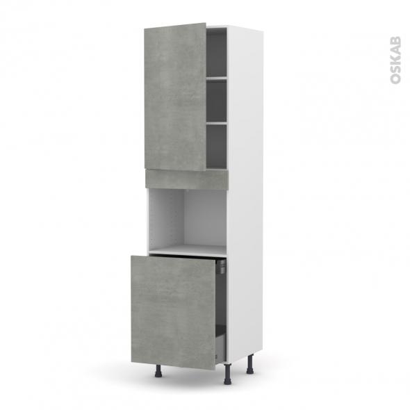 Colonne de cuisine N°2416 - Four encastrable niche 60 - FAKTO Béton - 1 porte 1 porte coulissante - L60 x H217 x P58 cm
