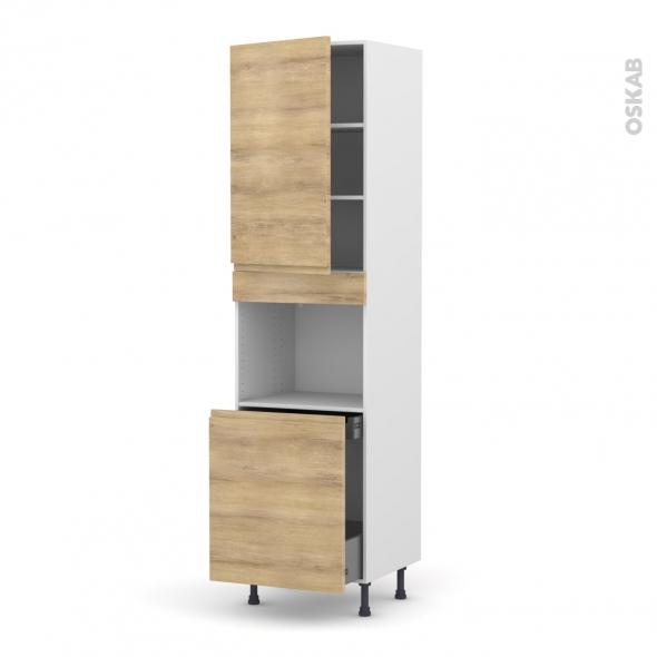 Colonne de cuisine N°2416 - Four encastrable niche 60 - IPOMA Chêne naturel - 1 porte 1 porte coulissante - L60 x H217 x P58 cm