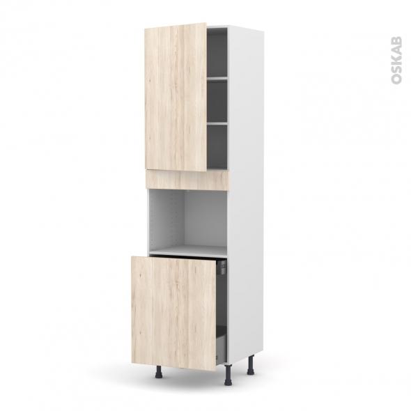 IKORO Chêne clair - Colonne Four N°2416 - 1 porte -1 porte coulissante - L60xH217xP58