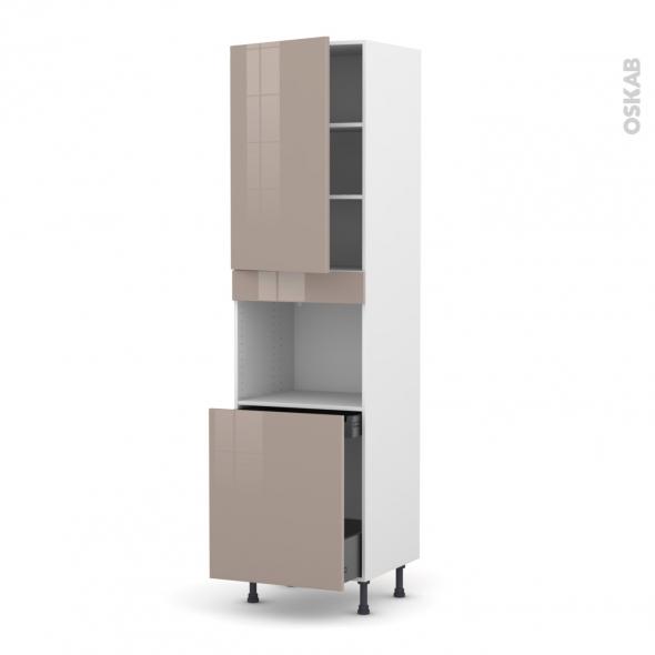 Colonne de cuisine N°2416 - Four encastrable niche 60 - KERIA Moka - 1 porte 1 porte coulissante - L60 x H217 x P58 cm
