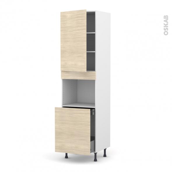 Colonne de cuisine N°2416 - Four encastrable niche 60 - STILO Noyer Blanchi - 1 porte 1 porte coulissante - L60 x H217 x P58 cm