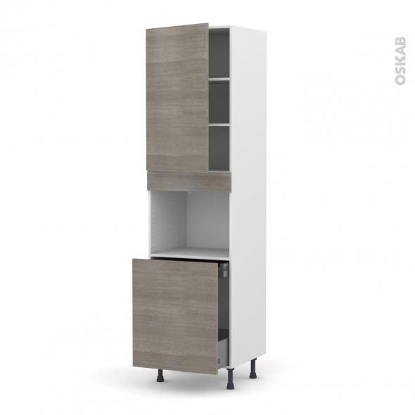 Colonne de cuisine N°2416 - Four encastrable niche 60 - STILO Noyer Naturel - 1 porte 1 porte coulissante - L60 x H217 x P58 cm