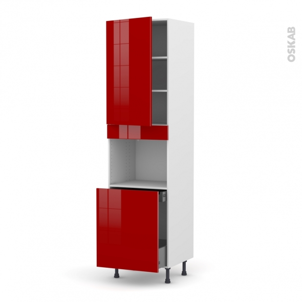 Colonne de cuisine N°2416 - Four encastrable niche 60 - STECIA Rouge - 1 porte 1 porte coulissante - L60 x H217 x P58 cm