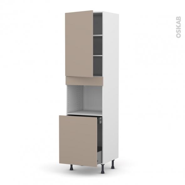 Colonne de cuisine N°2416 - Four encastrable niche 60 - GINKO Taupe - 1 porte 1 porte coulissante - L60 x H217 x P58 cm