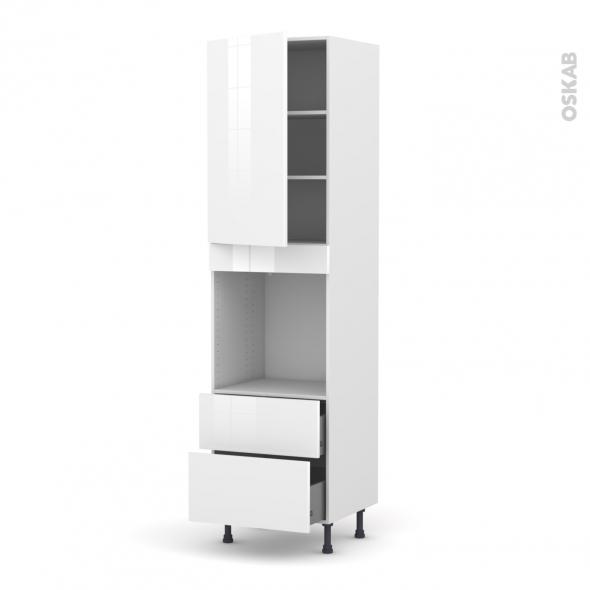 Colonne de cuisine N°2458 - Four encastrable niche 60 - STECIA Blanc - 1 porte 2 casseroliers - L60 x H217 x P58 cm