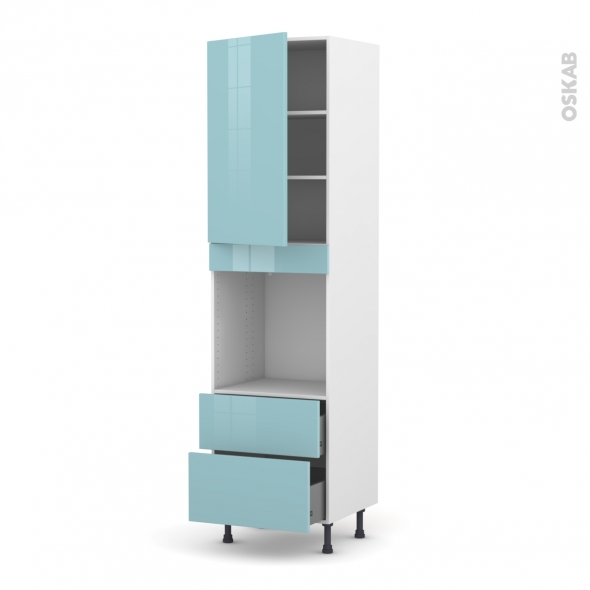 Colonne de cuisine N°2458 - Four encastrable niche 60 - KERIA Bleu - 1 porte 2 casseroliers - L60 x H217 x P58 cm