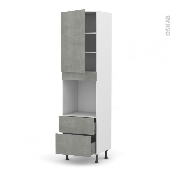 Colonne de cuisine N°2458 - Four encastrable niche 60 - FAKTO Béton - 1 porte 2 casseroliers - L60 x H217 x P58 cm