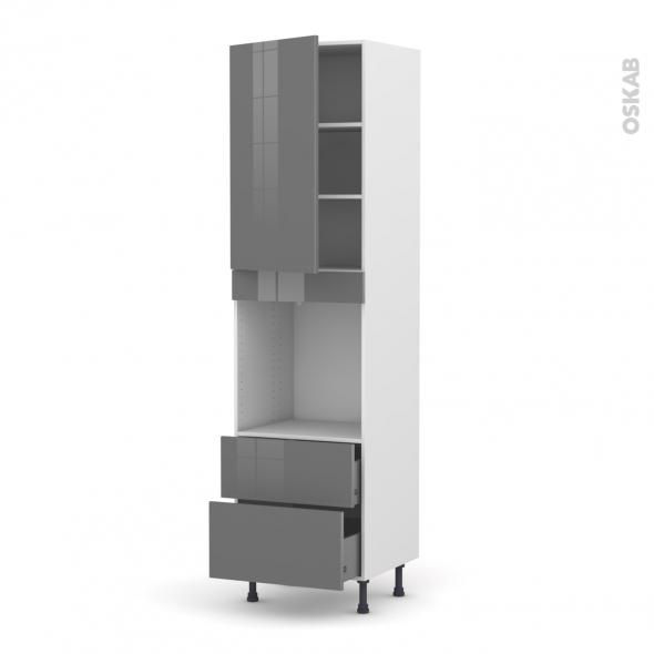 Colonne de cuisine N°2458 - Four encastrable niche 60 - STECIA Gris - 1 porte 2 casseroliers - L60 x H217 x P58 cm