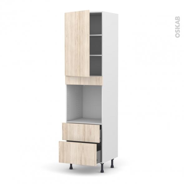 Colonne de cuisine N°2458 - Four encastrable niche 60 - IKORO Chêne clair - 1 porte 2 casseroliers - L60 x H217 x P58 cm