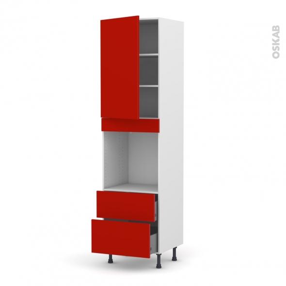GINKO Rouge - Colonne Four N°2458  - 1 porte 2 casseroliers - L60xH217xP58