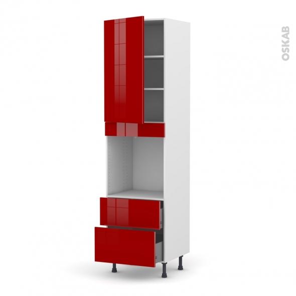Colonne de cuisine N°2458 - Four encastrable niche 60 - STECIA Rouge - 1 porte 2 casseroliers - L60 x H217 x P58 cm