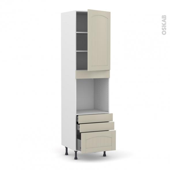 SILEN Argile - Colonne Four N°2459  - 1 porte 3 tiroirs - L60xH217xP58 - droite