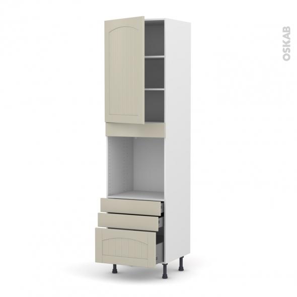 SILEN Argile - Colonne Four N°2459  - 1 porte 3 tiroirs - L60xH217xP58 - gauche
